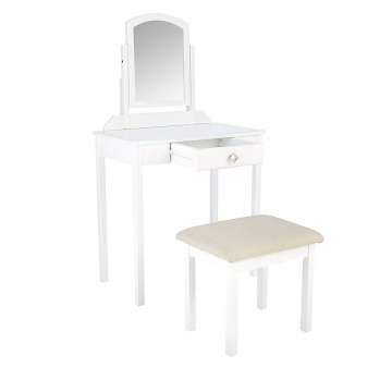 Small White Dressing Table Vanity Set with Stool